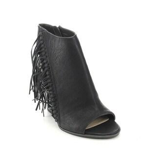 C Label Alamo-2 Women's Boho Fringe Side Zip Stacked Chunky Heel Ankle Booties