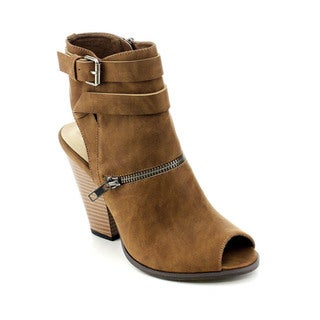 C Label Alamo-3 Women Buckle Side Zip Cut-out Stacked Chunky Heel Ankle Booties