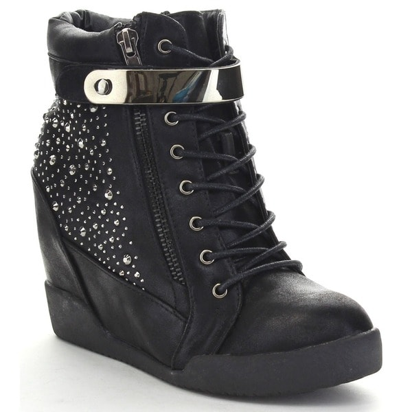 Nature Breeze Frontrunner-03 Women's Studded Lace-up Side Zip Wedge Ankle Bootie