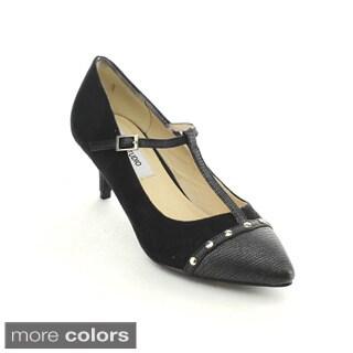 C Label Felitsa-4 Women Buckle T-starp Pointed Toe Ankle Strap Kitten Heel Pumps