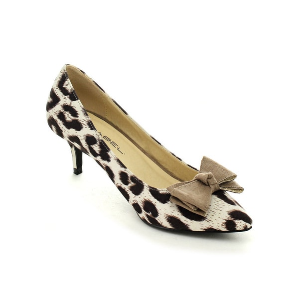 C Label Felitsa-5 Women's Leopard Pointed Toe Slip On Bow Kitten Heel