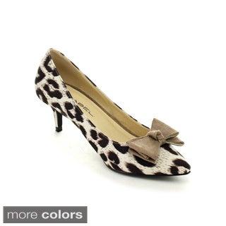 C Label Felitsa-5 Women's Leopard Pointed Toe Slip On Bow Kitten Heel