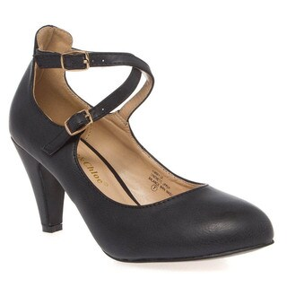 Chase and Chloe Kimmy-30 Women's Round Toe Criss Cross Strap Mid Heel Pumps