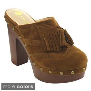 Chase and Chloe Rachel-6 Women's Fringe Studded Chunky Heel Platform Heels