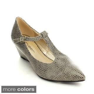 C Label Alita-3 Women's Buckle T-starp Pointed Toe Wedge Heel Ankle Strap Pumps