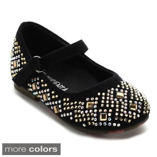 Floricienta Zuri-02i Toddler's Girl Glitter Rhinestone Hook and Loop Flats