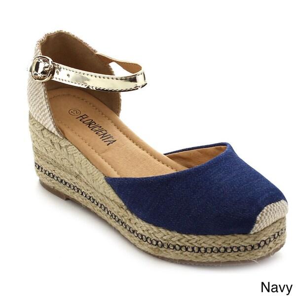 Floricienta Megan-01k Girl's Comfort Closed Toe Espadrille Wedge Sandals