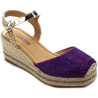 Floricienta Megan-02k Girl's Closed Toe Slingback Espadrille Wedge Sandals