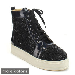 Chase and Chloe Hudson-2 Women's Rhinestone Studded Lace-up High Top Sneakers