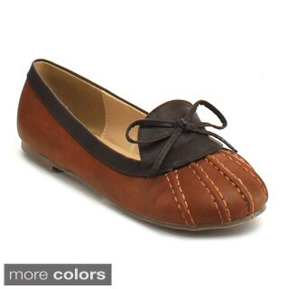 Chase and Chloe Hetty-1 Women's Soft Loafer Style Duck Bow Tie Flats