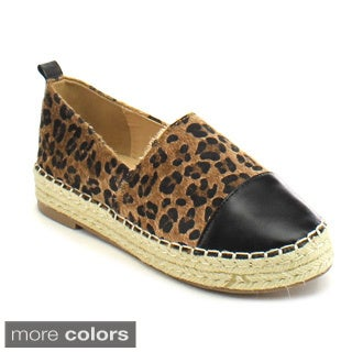 Chase and Chloe Skylar-1 Women's Comfort Quilted Espadrille Moccasin Flats