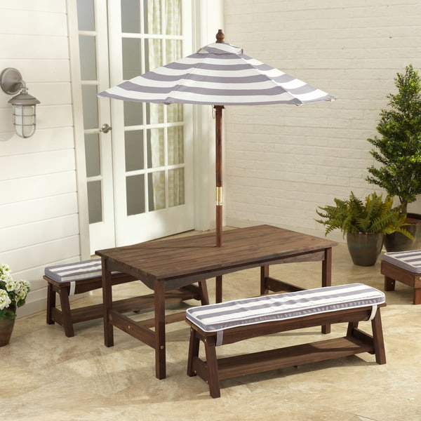 KidKraft Grey and White Outdoor Table and Bench Set