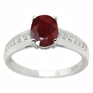 De Buman 1.73ctw Ruby and Zircon 925 Silver Ring