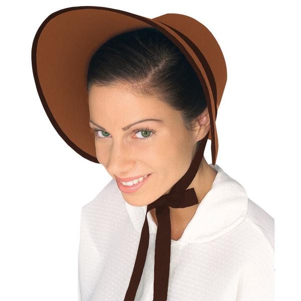 Colonial Brown Felt Bonnet Hat Costume