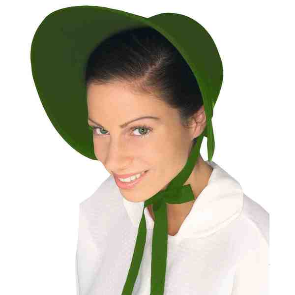 Colonial Green Felt Bonnet Hat Costume