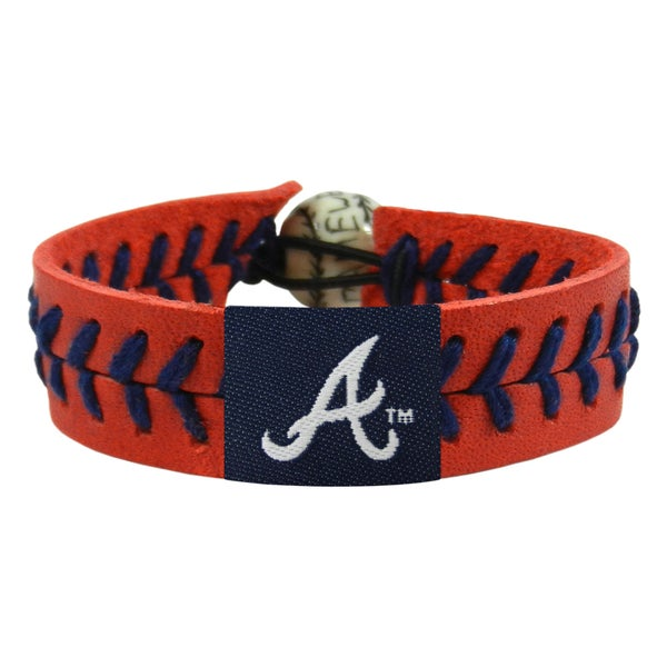 Atlanta Braves Team Color Baseball Leather Stitch Bracelet
