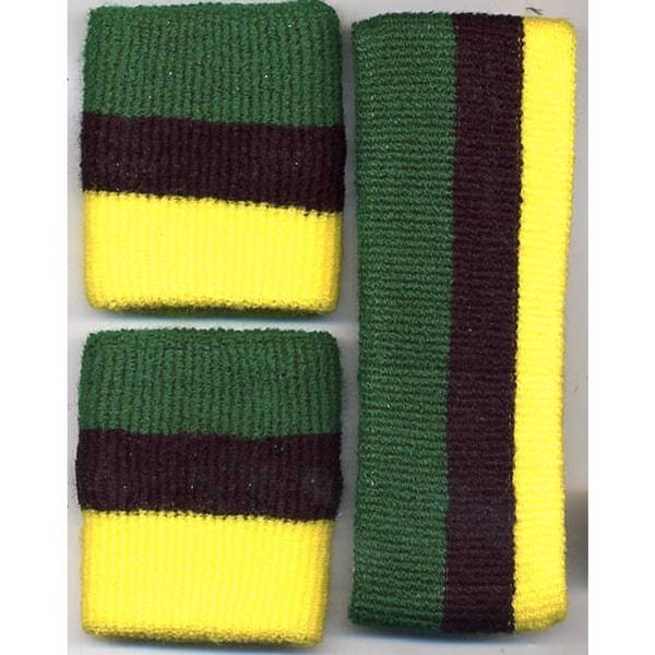Jamaican Yellow Black Green Headband/ Wristband Set