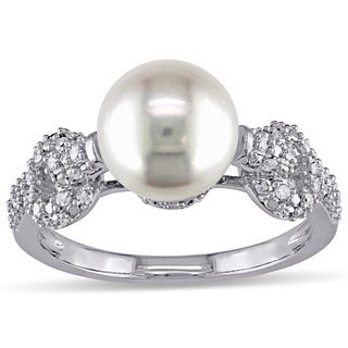 Miadora 10k White Gold Freshwater White Pearl and 1/4ct TDW Diamond Ring (G-H, I2-I3)