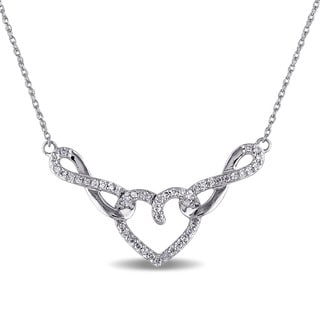 Miadora 10k White Gold 1/5ct TDW Diamond Heart Necklace (G-H, I2-I3)