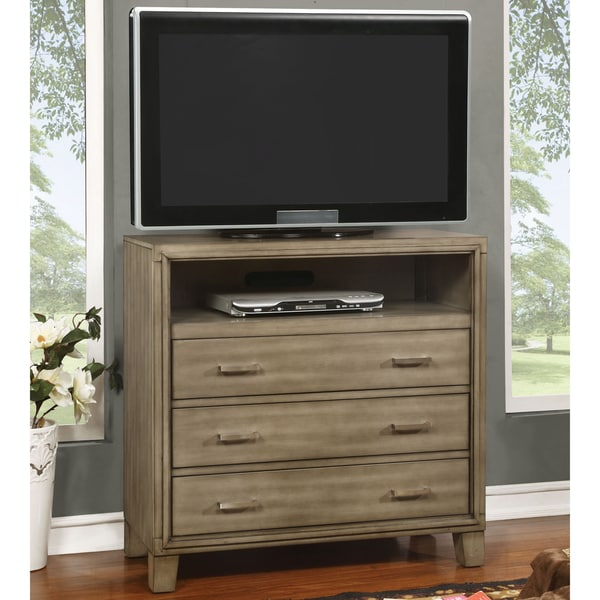 Furniture of America Sunjan Weathered Elm 3-Drawer Media Chest