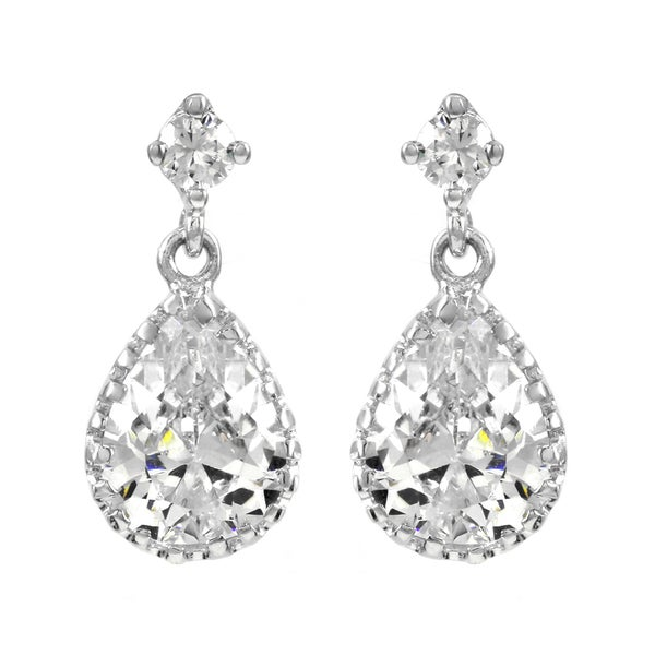 Pear Drop Pave CZ Earrings
