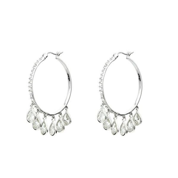 CZ Pear Drop Hoop Earrings