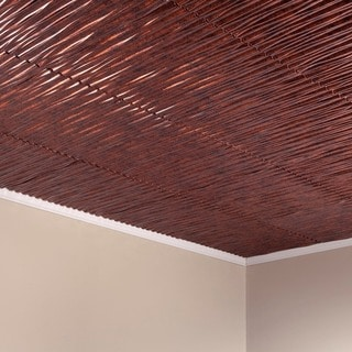 Fasade Dunes Vertical Moonstone Copper 2-feet x 2-feet Glue-up Ceiling Tile