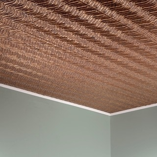 Fasade Current Vertical Cracked Copper 2-feet x 2-feet Glue-up Ceiling Tile