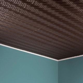 Fasade Current Vertical Argent Bronze 2-feet x 2-feet Glue-up Ceiling Tile