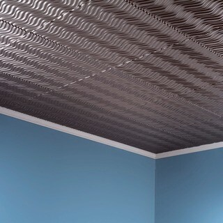 Fasade Current Vertical Brushed Nickel 2-feet x 2-feet Glue-up Ceiling Tile