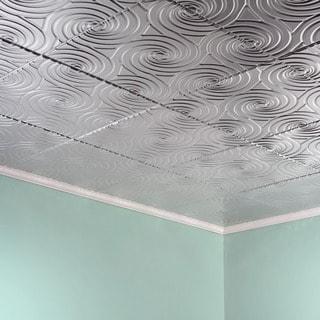 Fasade Typhoon Brushed Aluminum 2-feet x 2-feet Glue-up Ceiling Tile