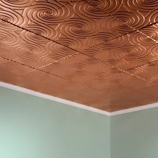 Fasade Typhoon Polished Copper 2-feet x 2-feet Glue-up Ceiling Tile