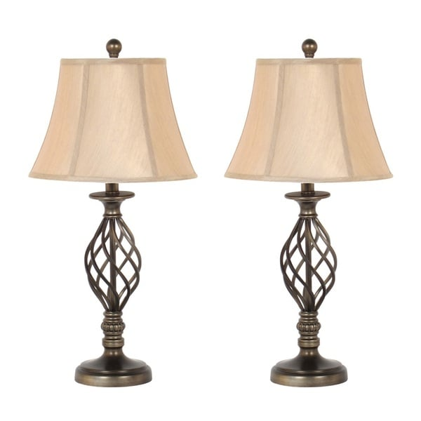 27-inch Antique Brass Table Lamp Set