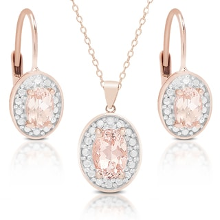 Dolce Giavonna Rose Gold over Silver Morganite and Diamond Accent Earring, Pendant or Set with Red Bow Gift Box