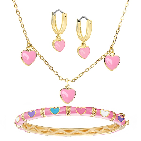 Molly and Emma Gold Overlay Pink Enamel Heart Jewelry Set in a Red Bow Gift Box