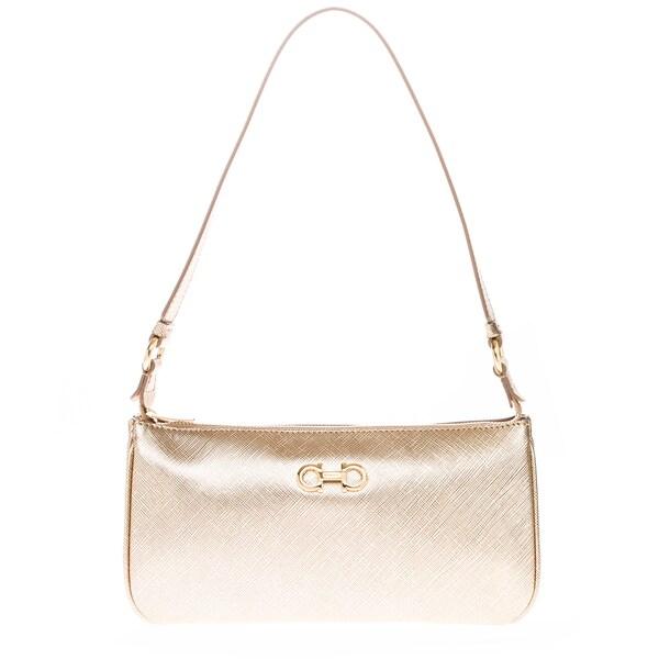 Salvatore Ferragamo Mini Lisetta Metallic Shoulder Bag
