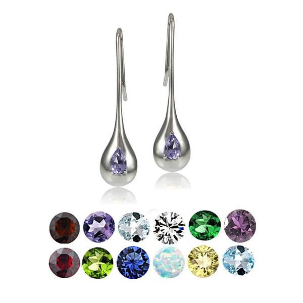 Glitzy Rocks Sterling Silver Birthstone Teardrop Lotus Drop Earrings