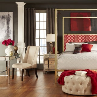 INSPIRE Q Solivita Red Moroccan Linen Button Tufted Gold Metal Poster Bed