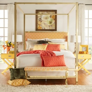 INSPIRE Q Solivita Orange Yellow Moroccan Linen Metal Poster Bed
