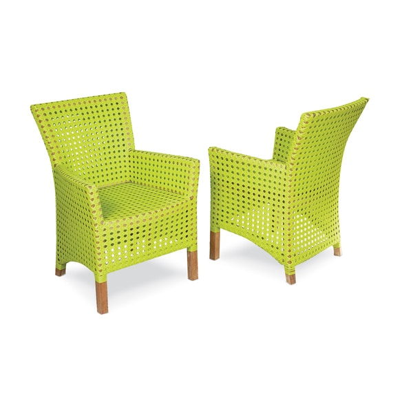 Decorative Modern Green Woven Rattan Indoor Outdoor Chair