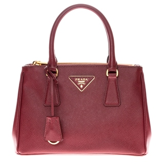 Prada Saffiano Lux Small Red Double Zip Tote