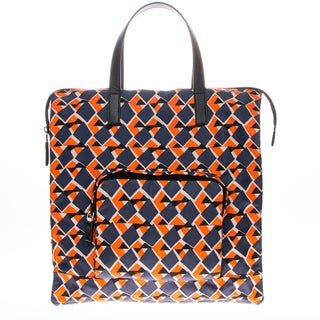 Prada Nylon Octagon-Patterned Tote Bag