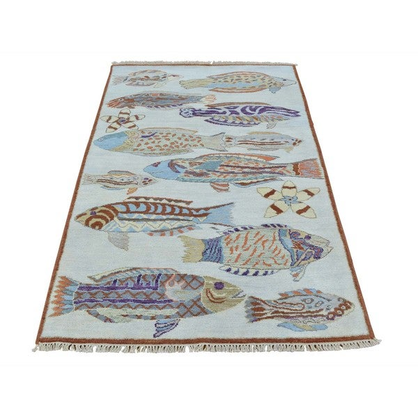Fish in the Sea 100 Percent Wool Oriental Rug Hand Knotted (3' x 4'10)