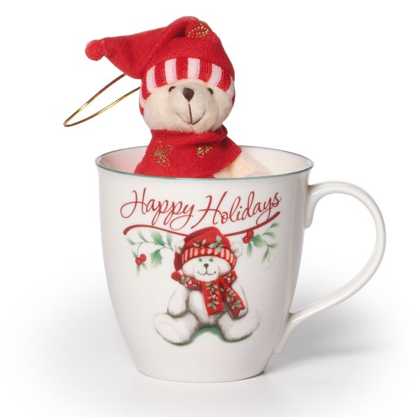 Pfaltzgraff 20-ounce Winterberry Mug with Stuffed Bear Ornament