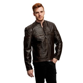 Wilda Men's Leather Scooter Jacket with Distressed Leather