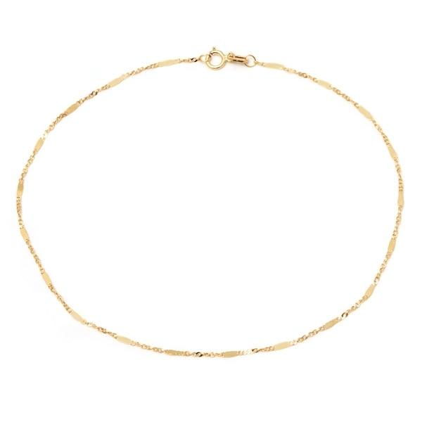 10k Yellow Gold Italian Mirror Chain Anklet