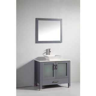 Legion Furniture 36-inch Solid Wood Sink Vanity with Faucet and Mirror