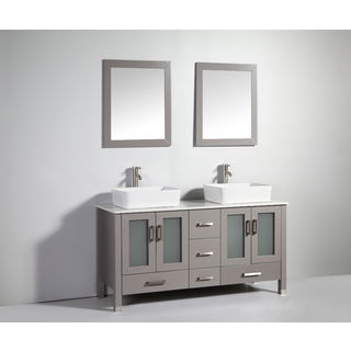 Legion Furniture 59-inch Light Grey Solid Wood Double Sink Vanity Set with Faucet and Mirror