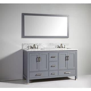Legion Furniture 60-inch Dark Grey Solid Wood Double Sink Vanity Set with Mirror
