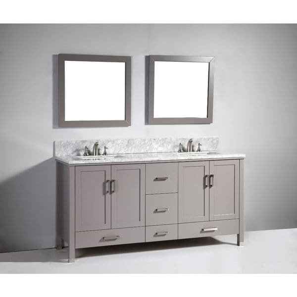 Light Grey Solid Wood 72-inch Sink Vanity with Mirror